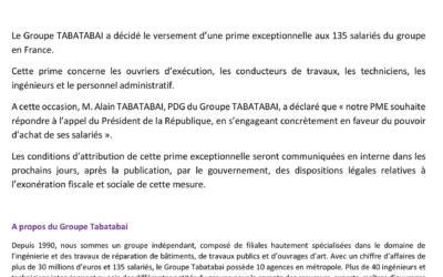 Le Groupe TABATABAI annonce le versement d'une prime exceptionnelle